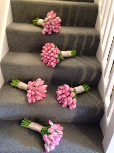 Spring bridal bouquets pink tulips