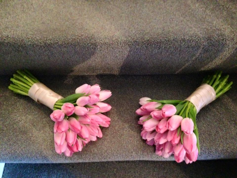 Spring bridesmaids bouquets tulips