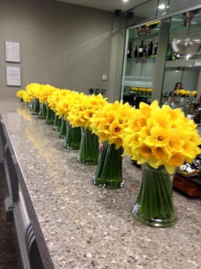Spring vases of flowers daffodils yellow bright