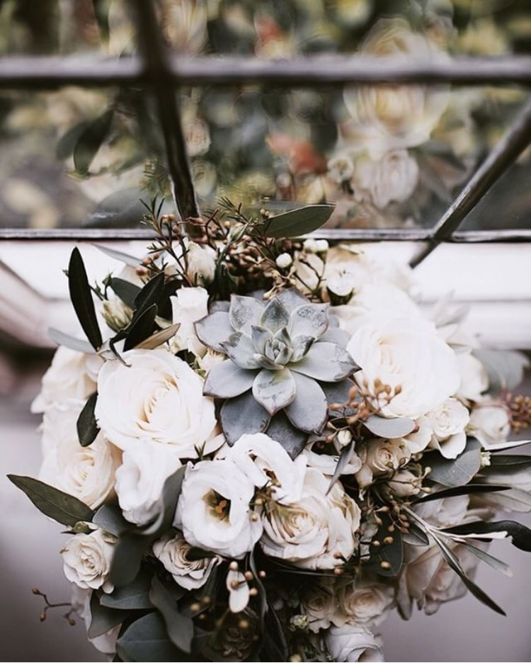 Rustic Wedding Flowers Bridal Bouquet with Ivory Roses & Succulents