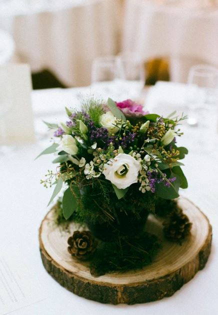 Woodland Rustic Wedding Flowers Centre pieces